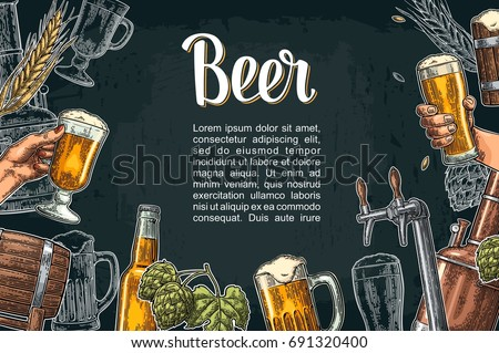 horizontal poster beer set with