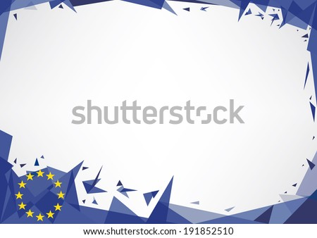 Horizontal poster (origami style) with the European flag. Ideal background for a screen.