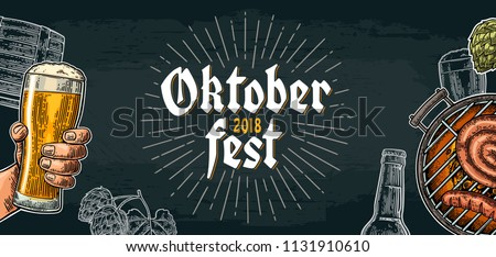 Horizontal Poster to oktoberfest festival. Male hand holding beer glass and barbecue grill top view with charcoal and sausage. Vintage color vector engraving illustration on dark background
