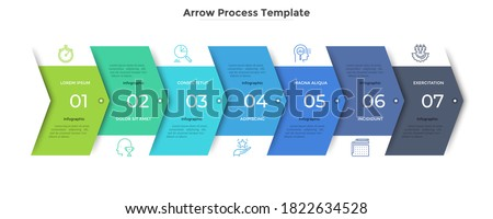 Horizontal progress bar with 7 overlapped arrow-like elements. Concept of seven steps of business strategy and development.Clean infographic design template.Modern vector illustration for presentation