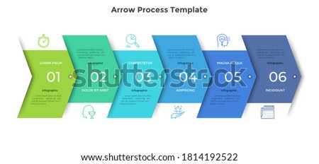 Horizontal progress bar with 6 overlapped arrow-like elements. Concept of six steps of business strategy and development. Clean infographic design template. Modern vector illustration for presentation Foto stock ©