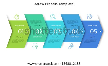 Horizontal progress bar with 5 overlapped arrow-like elements. Concept of 5 steps of business strategy and development. Clean infographic design template. Modern vector illustration for presentation.