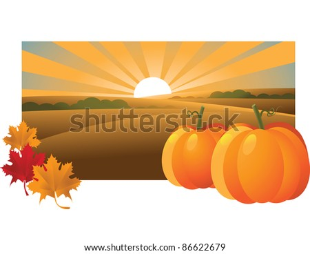 Horizontal Pumpkin and fall leaves background EPS 8 vector, with no open shapes, strokes or transparencies. Grouped for easy editing.