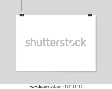 Shutterstock Horizontal realistic poster mockup A4 on a rope
