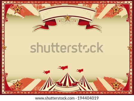 Horizontal red circus retro. A red vintage circus background for a poster