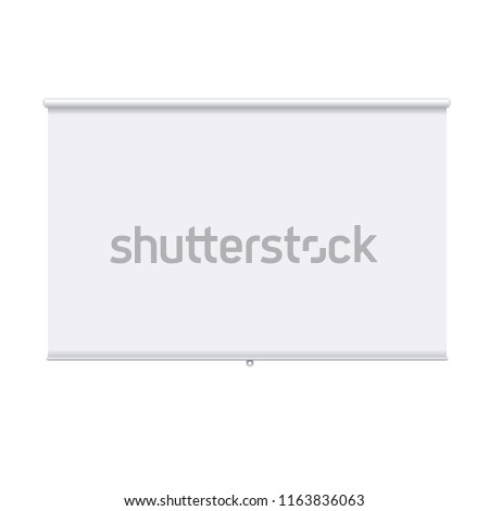 Horizontal roll up banner isolated on the white background. Design template of the projector screen. White roll up banner for presentation, corporate training and briefing. Vector mockup.