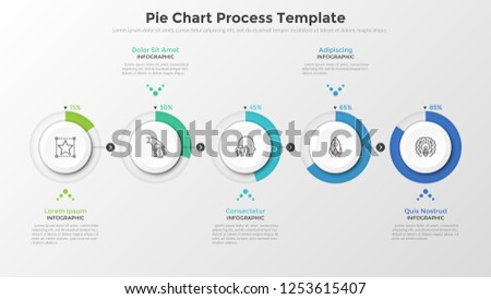 Horizontal row of 5 circular paper white elements with percentage indication connected by arrows. Pie chart process template. Vector illustration for business project completion visualization.