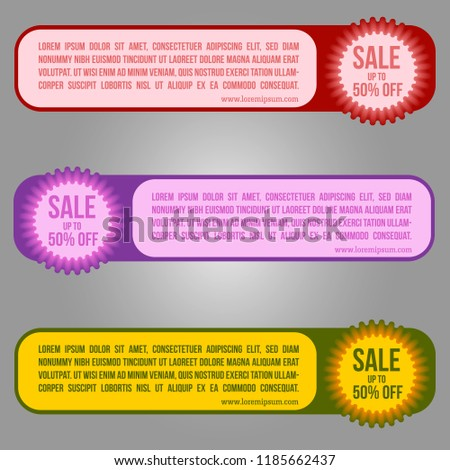 Horizontal sale banner in three different color palettes with a round element, with the option to specify the discount amount. Red, purple and marsh yellow. Soft forms. Vector illustration of EPS10