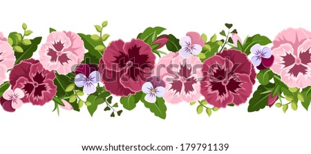Horizontal seamless background with pansy flowers. Vector illustration. #179791139