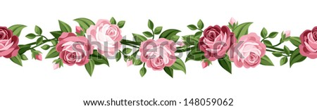 Horizontal seamless background with roses. Vector illustration. #148059062
