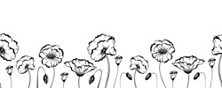 Horizontal seamless border with black and white sketch poppy flowers. Home decor design. Monochrome floral frame with wildflowers. Wall decal line art. Vector illustration