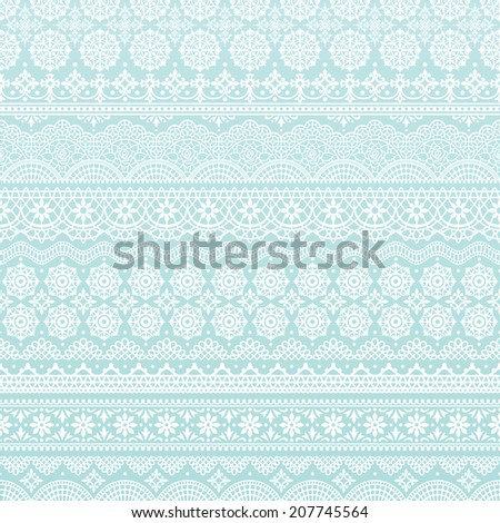 Horizontal seamless light blue background of lace trims.