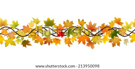 Horizontal seamless pattern of branch autumn maple leaves, vector illustration. #213950098