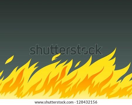 horizontal seamless pattern of burning fire, vector illustration. EPS10