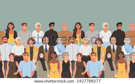 Horizontal seamless pattern with group of happy diverse men and women, students, teachers, colleagues, volunteers of different age that can be used for wrapping, wallpaper, texture, textile, fabric .