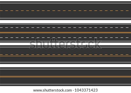 Horizontal seamless roads. Set of asphalt road with markings. Straight highway. Vector