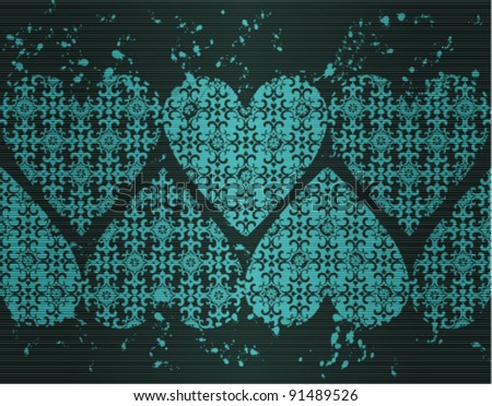 Horizontal seamless vignette with hearts