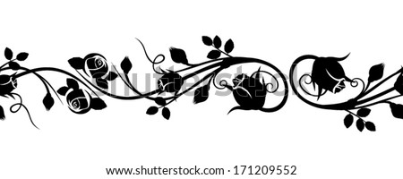 Horizontal seamless vignette with rose buds Vector illustration