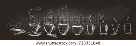 Horizontal set of hand-drawn coffee cups. Stylized sketch coffee on a chalkboard. Isolated.