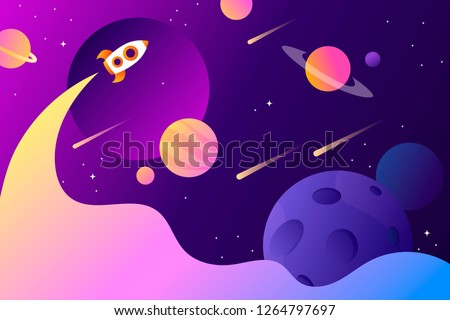 horizontal space background with abstract shape and planets. Web design. space exploring. vector illustration. rocket launch