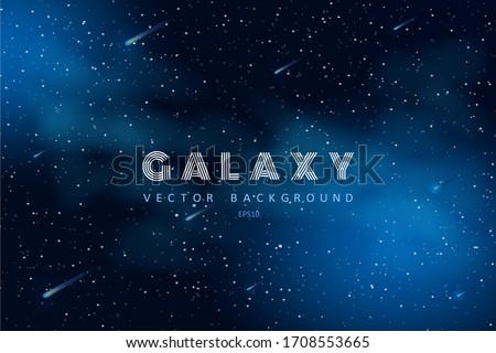 Horizontal space background with abstract shape and stars. Web design. Space exploring. Vector illustration of galaxy. Concept of web banner.