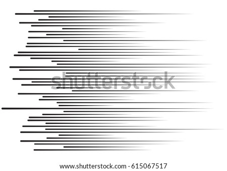 Horizontal speed lines for comic books. Black and white vector background
