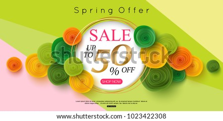 horizontal spring sale banner design vector illustration