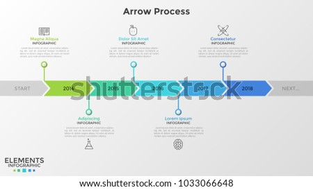 Horizontal stripe or timeline divided into arrow-like parts with year indication inside. Concept of annual development of company. Infographic design template. Vector illustration for presentation.