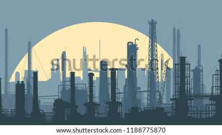Horizontal stylized illustration industrial district with factories in blue tone.