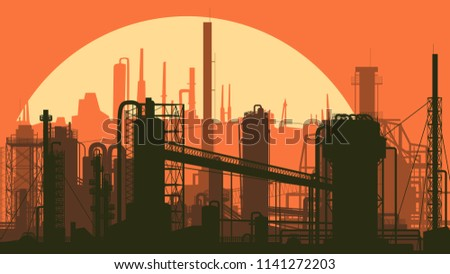 Horizontal stylized illustration industrial part of city with factories at sunset.