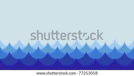 horizontal stylized seamless wave illustration