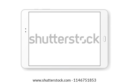 Horizontal tablet computer mock up isolated on white background - front view. Vector illustration