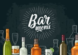 Horizontal template for Bar menu alcohol drink with calligraphic handwriting lettering. Bottle and glass gin, champagne, vodka, tequila, wine, whiskey, rum. Vintage color vector engraving on dark