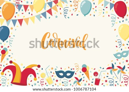 Horizontal template with confetti, jester hat, mask, balloons, windmills, ice cream, cocktails, flags, serpentine. Carnival lettering. Place your text. Invitation, poster, card, flyer, banner, frame