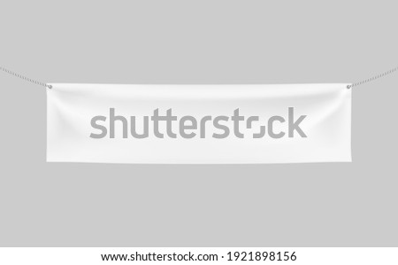 Horizontal Textile Banner with 2 holes and ropes. 3d Vector realistic White banner with folds. Blank Template for Design and Advertising. Awning, Poster, Textiles, PVC, Vinyl, Nylon ect. EPS 10. Сток-фото ©