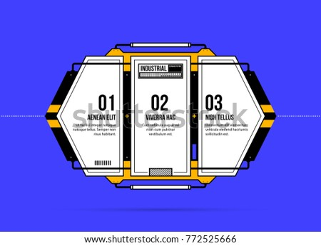 Horizontal three options template in geometric industrial/techno style on deep blue background