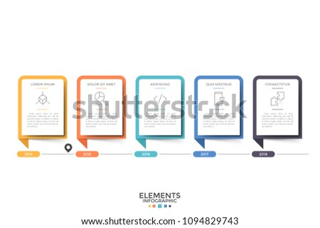 Horizontal timeline. Five paper white rectangular elements or cards with thin line symbols, heading and information inside and year indication. Modern infographic design template. Vector illustration.