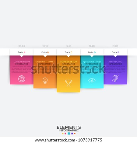 Horizontal timeline with 5 pop up elements. Five colorful rectangles with thin line pictograms, place for text and time indication arranged into row. Infographic design template. Vector illustration.