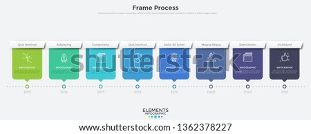 Horizontal timeline with 8 rectangular elements and year indication. Flat infographic design template. Modern vector illustration for company's annual progress or development history visualization.