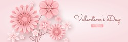 Horizontal Valentine's Day greeting card template. Congratulation with pink flowers and text isolated on light background.