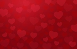 Horizontal valentines hearts bokeh background with flare light,red sweet flat  design,vector illustration.