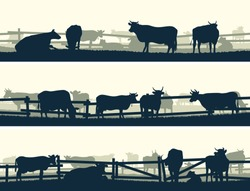 Horizontal vector banner silhouettes of grazing farm animals with fence (cows and bulls).