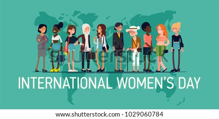 Horizontal vector banner template on International Women's Day vector concept with diverse group of women of different age, race and outfits