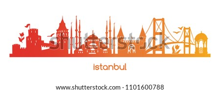 Horizontal vector illustration Istanbul with red, orange, yellow gradient silhouette of famous turkish symbols, sights, landmarks. Hand drawn elements of tower, bridge, gate, mosque in Turkey.