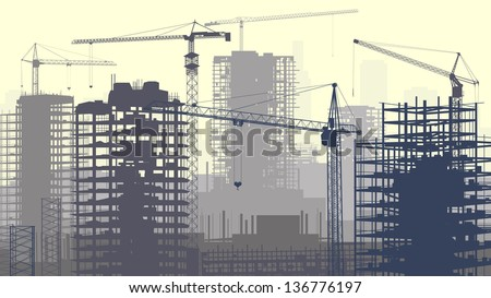 Horizontal vector illustration of construction site with cranes and skyscraper under construction in yellow-grey