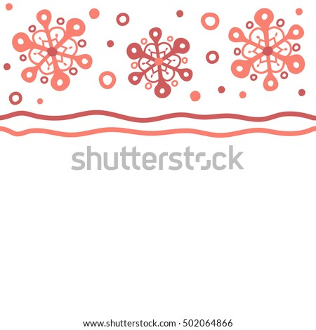 horizontal vector merry christmas border in pink colors on white background with copy space place - Merry Christmas Border