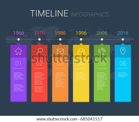 Horizontal vector timeline info graphic with line icons