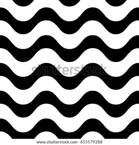Horizontal wavy lines vector seamless pattern. Simple black & white waves, smooth stripes. Abstract monochrome background, repeat tiles. Modern design element for prints, decor, fabric, cloth, textile