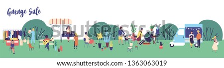 Horizontal web banner template for garage sale, outdoor festival, summer fair advertisement with men and women buying and selling goods in park. Flat cartoon vector illustration for event promotion.