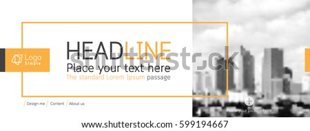 Horizontal web banner, vector template, with space for your picture